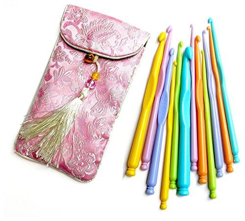 12 Stück Farbenreich Kunststoff Häkelnadeln Set Stärken 2mm - 10mm, Tasche aus Seide