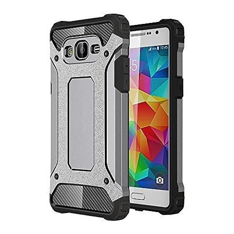 Skitic Etui Housse Coque Anti Choc pour Samsung Galaxy Grand Prime (SM-G530), 2 en 1 Hybride Armour Case TPU + PC Incassable Back Cover Rigide Coque de Protection pour Samsung Galaxy Grand Prime G530 Smartphone - Gris