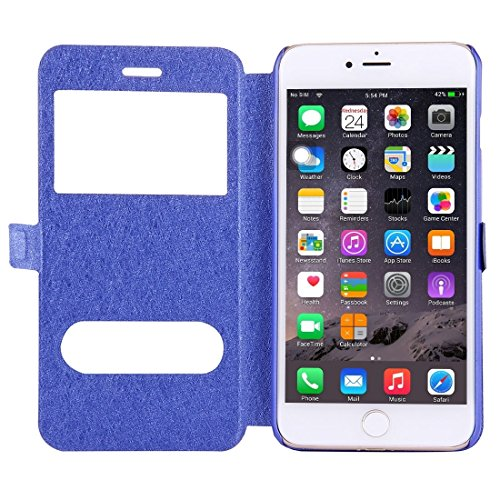 Hülle für iPhone 7 plus , Schutzhülle Für iPhone 7 Plus Solid Color Horizontale Flip Leder Tasche mit Call Display ID & Halter & Magnetic Buckle ,hülle für iPhone 7 plus , case for iphone 7 plus ( Col Dark Blue