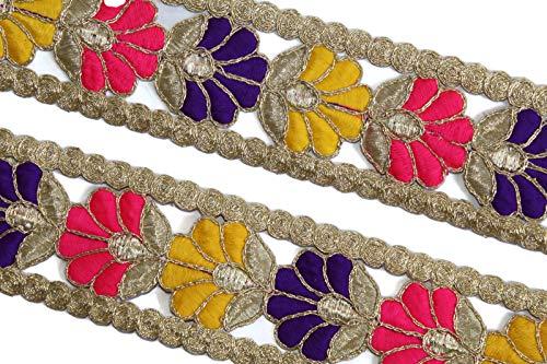 Generic Sari Spitze floral Trim stoffbesatz Spitze indisch Premium qualität goldene Spitze Goldener Trim-Preis pro 01 Yard-breite 4.5cm-idl280