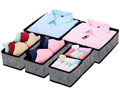 Homyfort Juego de 6 organizadores de cajones de tela, Organizadores de ropa interior, Separadores de cajones para guardar calcetines, ropa interior o accesorios de bebé, Negro Lino, XACB6P