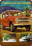 KELLEN WHITEHEAD Ford Bronco Affiche De Décoration Drôle De Panneau De Mur en Métal Art