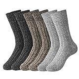 HBselect Lot de 6 Chaussettes en Coton et Laines, contrôle de l'humidité, rembourrage doux, parfaites pour le hiver pour homme et femme L 42-45