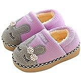 SITAILE Jungen Mädchen Winter Pantoffeln Slippers Schuhe mit Plüsch gefüttert Wärme Weiche rutschfeste Hausschuhe Für Kinder Baby 02-lila 24-25