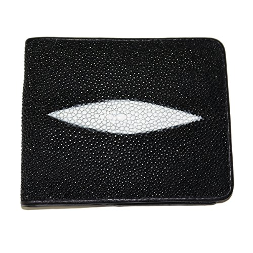 genuine-stingray-skin-leather-bi-fold-wallet-w-left-flap-diamond-black