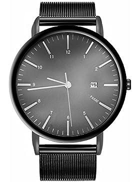 Unisex Classic Herren Quarz Armbanduhr mit schwarz Edelstahl Milanaise mesh Gurt