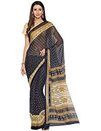 Oomph! Women's Printed Chiffon Sarees - Navy Blue & Oatmeal Beige
