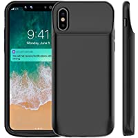 Bovon Coque Batterie iPhone XS / X, 6000mAh Chargeur Portable Batterie Externe Rechargeable Puissante Power Bank Coque Chargeur de Protection pour iPhone XS / X [5.8 Pouces] (Noir)