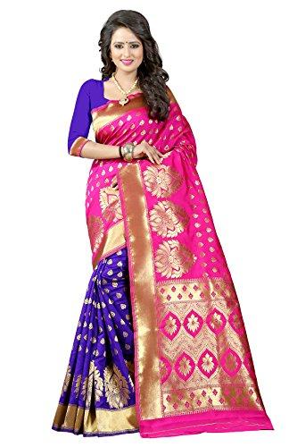 Shiya Tassar Silk Saree With Blouse Piece (Pari 1 Pink Blue_Pink And...