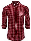 JEETOO Camisas Hombre Manga Larga Moda Casual Rayas/Cuadros (XX-Large, Rojo-1)