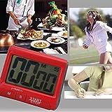 Yeshi escritorio reloj despertador portátil Digital temporizador de cocina (más grande LCD cuenta hasta reloj alarma rosso