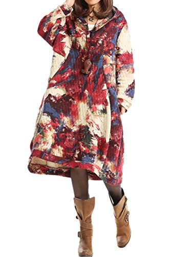 Vogstyle Femme New Hoodie Print Robe Rouge