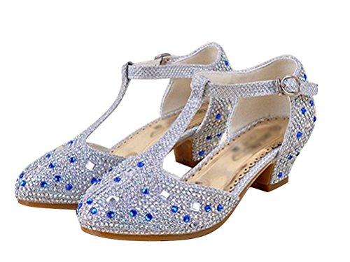 Brinny Ballerine Chaussures à talon à Déguisement Princesse Brillant faux diamant pour enfants Fille 3 à 12 ans Mariage Soirée Party Bleu / Pink / Or / Argenté 12 Tailles: 26-37 Argenté