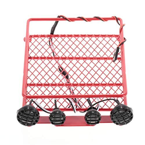 Dach Gepäck Gestell Träger Mit vier LED Beleuchtung kompatibel mit 1/10 RC Auto Crawler LKW Kletterndes Simulation Harte Schale Metall Beleuchtet Gepäckablage (rot) -