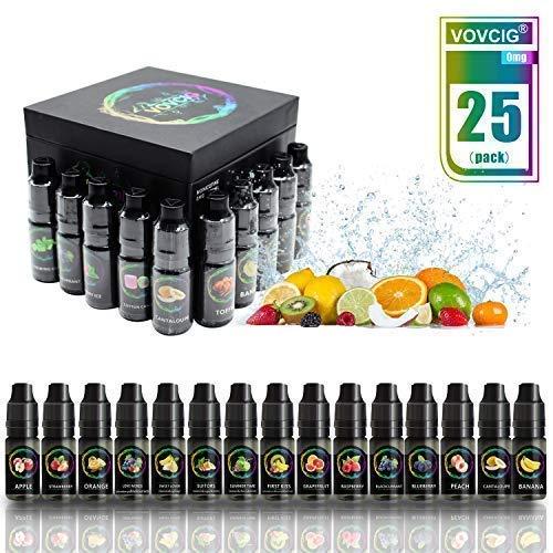 VOVCIG E Liquids, 25 X 10mL E Liquid 70VG/30PG für Elektronische Zigarette, Ohne Nikotin -