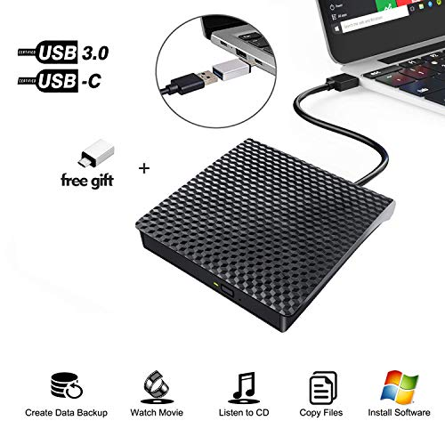 Externes CD/DVD-Laufwerk, USB Typ C Adapter auf USB 3.0 Superdrive DVD CD+/-RW Brenner Brenner optisches Laufwerk kompatibel mit MacBook/iMac/Laptop/Windows/Chromebook (Chromebook Cd-brenner)