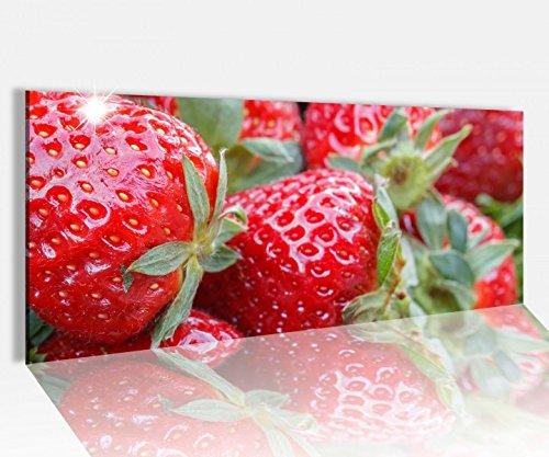 Acrylglasbild 100x40cm Erdbeere rot Beeren Küche Obst Frucht Acrylbild Glasbild Acrylglas Acrylglasbilder 14A1297, Acrylglas Größe1:100cmx40cm