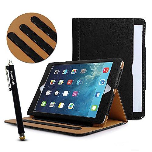 sionTech® – Slim Fit Leder Folio Schutzhülle mit Smart Cover Auto Sleep/Wake Funktion für Apple iPad Air 2 (iPad 6) Modell 2014 (Zu Viele Offene Tabs)