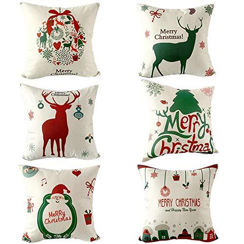 Set di 6Christmas Theme Throw Pillow Covers Square Decorative Morbido Cuscino guanciale Natale Serie Cotone Misto Lino Pillowcovers 45,7x 45,7cm