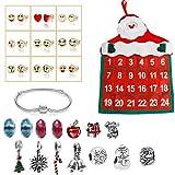 Kaimus Calendrier de l'Avent pour enfants avec bracelet et boucles d'oreilles et calendrier de l'Avent pour enfants et cadeaux de Noël