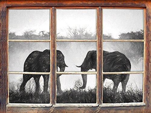 Les éléphants de combat effet de charbon de bois Fenêtre en 3D look, mur ou format vignette de la porte: 92x62cm, stickers muraux, sticker mural, décoration murale