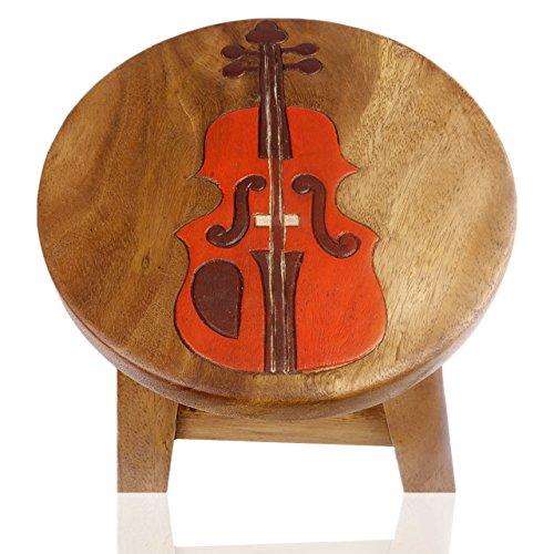 ART-CRAFT KH013 Kinderhocker Holz Schemel mit Motiv Geige Bemalt und beschnitzt Höhe 27 cm
