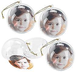 Your Design Fotokugeln Weihnachten: 4er-Set transparente Weihnachtsbaum-Kugel für Ihre Fotos (Weihnachtskugel Fotokugel)