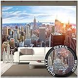 GREAT ART Fotomurale - New York Skyline - Decorazione Murale Tramonto Sunset Manhattan Penthouse Vista Panoramica USA America Big Apple Carta da Parati 336 x 238 cm