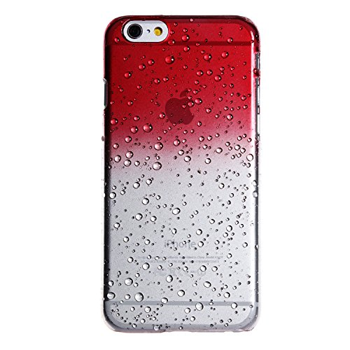 wortek Plastik Hardcase Raindrop Regentropfen Apple iPhone 6 4,7 Zoll Blau Transparent iPhone 6 - Rot