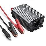 BESTEK Inverter da Auto 500W / Trasformatore da 12V a 220V con Presa AC e 2 Porte USB, Convertitore di Potenza per Auto/Camper/Smartphone con Adattatore Accendisigari e Pinze per Batteria(Grigio)