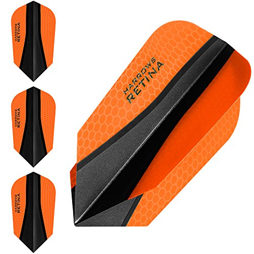HARROWS retina-x Dart Flights – 5 sets (15) – 100 micron Extra Strong – Slim – Orange