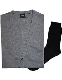 9f5c042918db1a Olymp Strick Cardigan Strickjacke - Merinowolle, V-Ausschnitt, grau + 1  Paar hochwertige