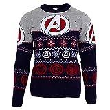 Marvel Avengers Unisex Weihnachtspullover mit Logo, Gemustert (M) (Blau)
