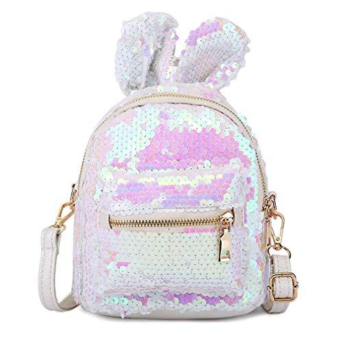 Frauen-Mädchen-Kinder Sequin Rucksack Glitzer-Schultertasche Multi Usage Bling Zipper Travel Daypack mit netten Ohren Schulranzen Schultertasche Satchel (weiß) - Mini-satchel