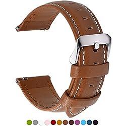 Fullmosa 14mm 16mm 18mm 19mm 20mm 22mm 24mm Bracelet Montre en Cuir Véritable, 12 Couleurs Axus Montre Bracelet à Dégagement Rapide,16mm Brun