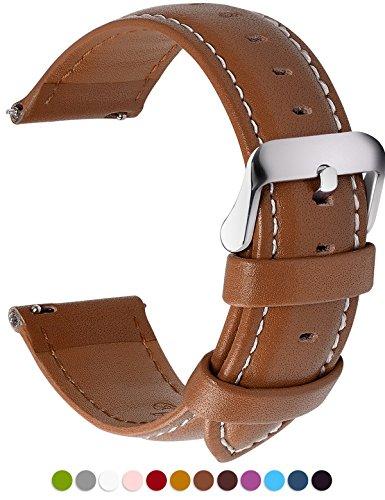 Fullmosa 12 Farben Uhrenarmband, Axus Serie Lederarmband Ersatz-Watch Armband mit Edelstahl Metall Schließe für Herren Damen 14/16/18/20/22/24mm,Braun 22mm (Uhr Silikon-fossil)
