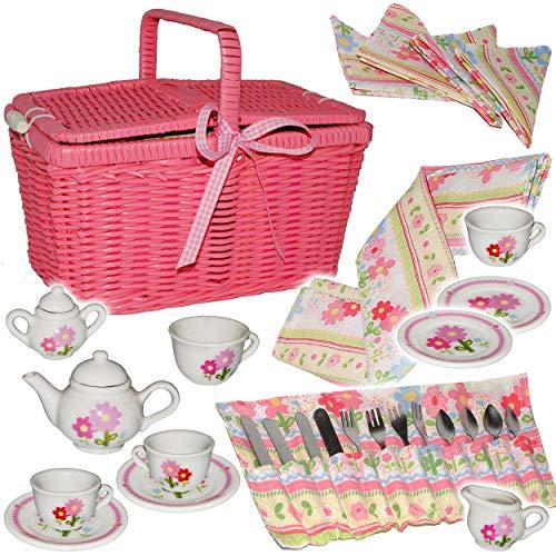 36 TLG. Set: Picknickkorb -  Teeservice & Kaffeeservice - Blumen & Blüten  - Geschirr aus Porzellan...