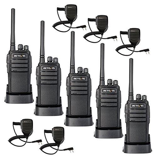 Retevis RT21 Funkgerät mit Mikrofon Walkie Talkie 16 Kanäle 1100mAh CTCSS/DCS VOX Wiederaufladbar Walkie Talkies Set (5 Stück, Schwarz)