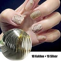 Joligel Kit Hilos Adhesivos Brillantes para Decoración de Uñas Manicura Francesa Nail Art, 10 Hilos Dorados +.