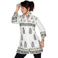 1545 Designs Da donna Inoltre tunica shirt Progettista bianco ricamato