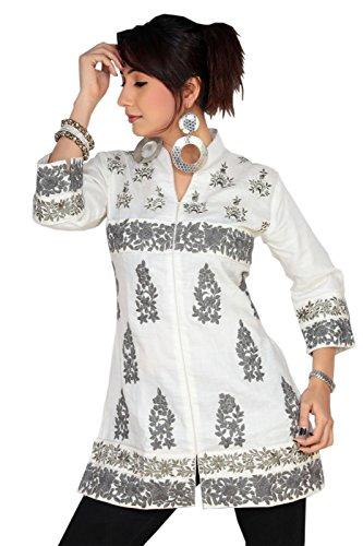 1545 Designs Da donna Inoltre tunica shirt Progettista bianco ricamato Multicolore