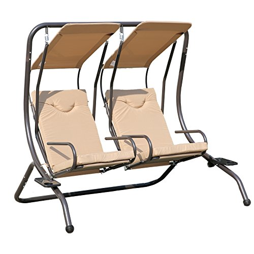 Angel Living 5864600 Hollywoodschaukel Gartenschaukel 2 Sitzer Khakifarben gepolstert aus Stahl (Patio Hollywoodschaukel Stuhl)