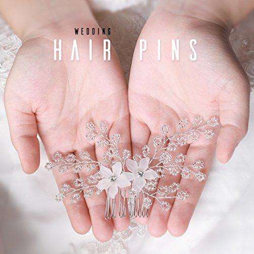 handcess Hochzeit Haarkamm Silber Blume Strass Kristall Haar Clips Kämme Zubehör für Bräute und Brautjungfern