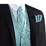 L & L Herren Paisley-Design Weste Weste und Krawatte Taschentuch Set für Anzug - UK - Türkis, XXXXXX-Large