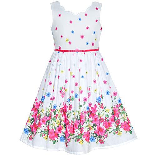 Sunboree Mädchen Kleid Rosa Blume Blütenblatt Sommer Trägerkleid Gr. 122