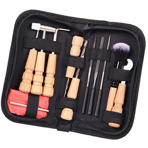 Sharplace 13er Set Gitarre Reparatur Werkzeug Kit mit Aufbewahrungsbeutel - Pin Harmmer, Pinsel, Nussschlüssel, Holzstange -