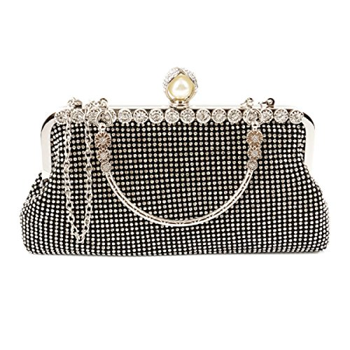 FZHLY Damen Umhängetasche Diamond Dinner Paket Clutch Bag Black