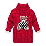 LEXUPE Kleinkind Kinder Baby Mädchen Jungen Bär Print Pullover Stricken Häkeln Tops Kleidung Outfits(E-Rot,110)
