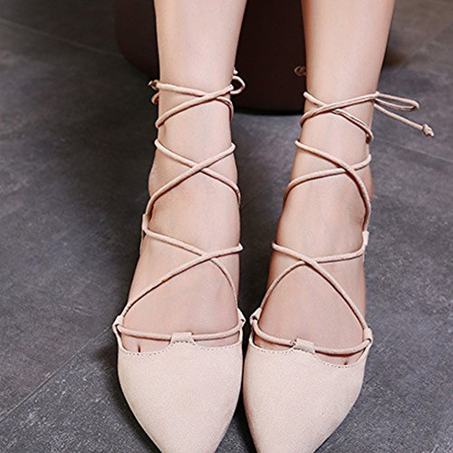 Minetom Donna Ragazza Estate Stile Dolce Traspirante Cinturino Caviglia Piatto Scarpe Elegante Balletto Danza Scarpe Con Lacci Partito Albicocca