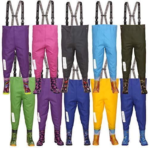 3Kamido Kinderwathose, Jugendliche Kinder Brust Wathose - 10 Modelle, verstellbare Taille, strapazierfähige Hosenträger, Schnalle Nexus, Kinder Angeln Stiefel 20 - 35 EU (Moro Grün, 34/35)
